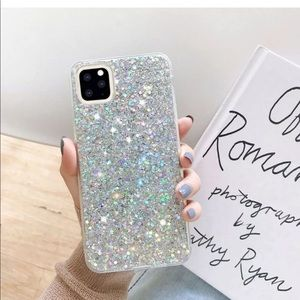 Silver Glitter Back Case for iPhone 11, pro, max